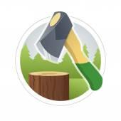 Ax chop  wooden log