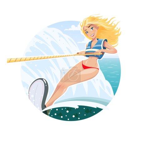 Beautiful waterskier girl on water ski