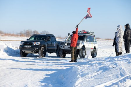 KHABAROVSK, RUSSIA - JANUARY 31, 2015: Start of off road winter