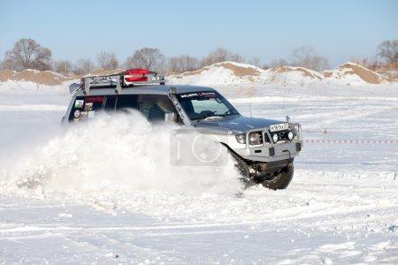 KHABAROVSK, RUSSIA - JANUARY 31, 2015: Old Mitsubishi Pajero jum