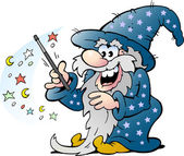 Happy Old Wizard Magic Man holding a Wand