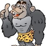 Vector Cartoon illustration of a Strong Gorilla gi...