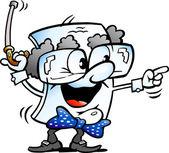 Vector Cartoon illustration of a Cute Old Grandpa Paper Mascot