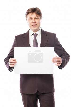Businessman with empty space for advertisement