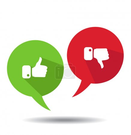 Illustration for Modern Thumbs Up and Thumbs Down Icons - Royalty Free Image