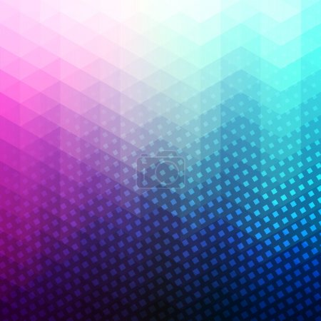 Illustration for Colorful abstract geometric vector background. Triangle shapes. Mosaic pattern. Hipster background with copyspace. Retro styled banner template. Halftone with squares - Royalty Free Image