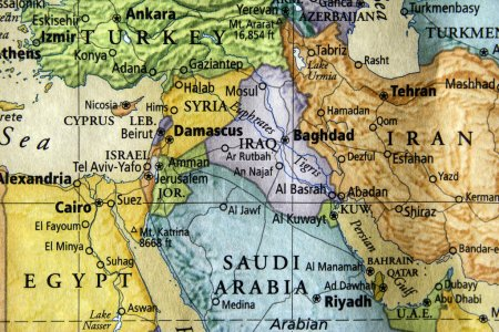 Photo pour Carte colorée de l'Irak, la Syrie et du Moyen-Orient - image libre de droit