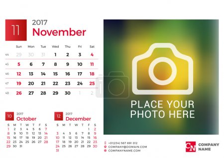 Desk Calendar for 2017 Year. Vector Design Print Template with Place for Photo. November. Week Starts Sunday. 3 Months on Page