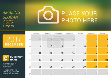 December 2017. Desk Calendar for 2017 Year. Vector Design Print Template with Place for Photo, Logo and Contact Information. Week Starts Monday. Calendar Grid with Week Numbers and Place for Notes