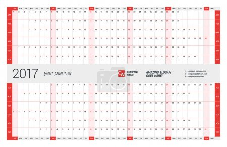 Yearly Wall Calendar Planner Template for 2017 Year. Vector Design Print Template. Week Starts Sunday