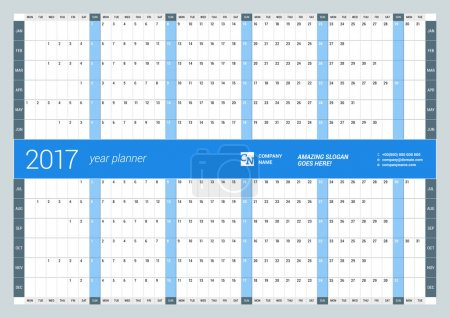 Yearly Wall Calendar Planner Template for 2017 Year. Vector Design Print Template. Week Starts Monday