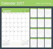 Vector Print Template. Monthly Calendar Planner for 2017 Year. Week Starts Monday. 3 Months on the Page. Stationery Design
