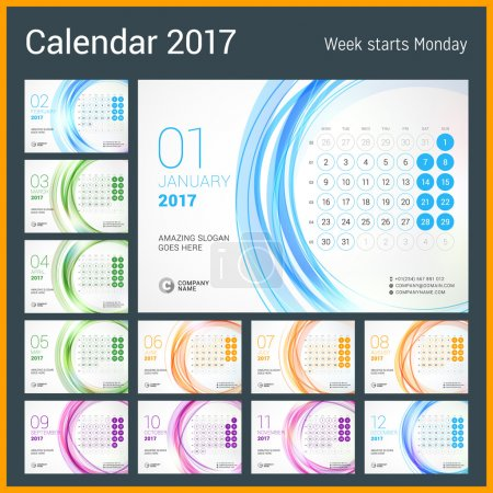 Desk Calendar for 2017 Year. Set of 12 Months. Week Starts Monday. Vector Design Print Template with Abstract Circle Background