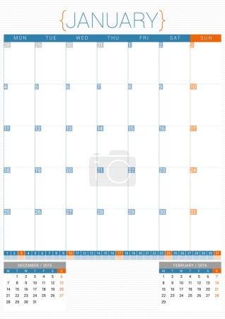 Calendar Planner 2016 Design Template. January. Week Starts Monday