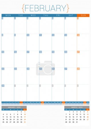 Calendar Planner 2016 Design Template. February. Week Starts Monday
