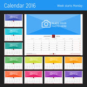 Wall Monthly Calendar for 2016 Year Vector Design Print Template Week Starts Monday Landscape Orientation Set of 12 Months