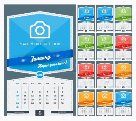 Wall Monthly Calendar for 2016 Year. Vector Design Print Template with Place for Photo and Pattern Background. Week Starts Sunday. Set of 12 Months