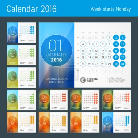 Desk Calendar for 2016 Year. Vector Design Print Template with Place for Photo and Circles. Week Starts Monday. Calendar Grid with Week Numbers. Set of 12 Months