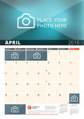 Wall Calendar Planner for 2016 Year Vector Design Print Template with Place for Photos and Notes Week Starts Monday 3 Months on Page April 2016