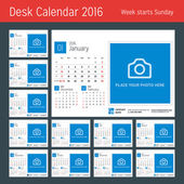 Desk Calendar for 2016 Year Vector Design Print Template with Place for Photo 3 Months on Page Week Starts Sunday Set of 12 Months