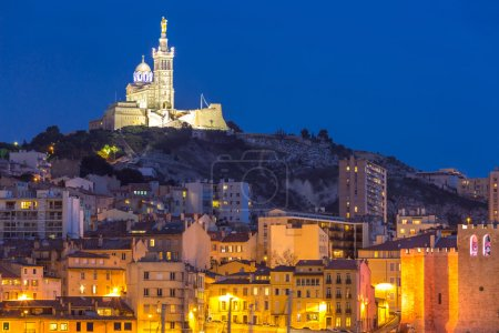 Marseille city in France at night