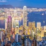 Panorama Hong Kong Skyline from Victoria Peak at d...