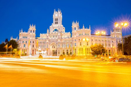 Photo for Plaza de la Cibeles (Cybele's Square) - Central Post Office (Palacio de Comunicaciones), Madrid, Spain. - Royalty Free Image