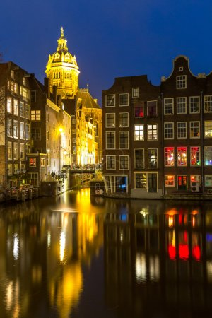 Amsterdam Canals and church at dusk