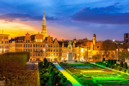 Photo for Brussels Cityscape from Monts des Arts at dusk, Belgium - Royalty Free Image