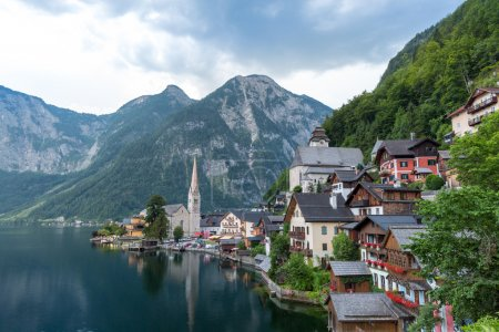 Photo for Classic view of Hallstatt village in Alps at dusk, Austria - Royalty Free Image