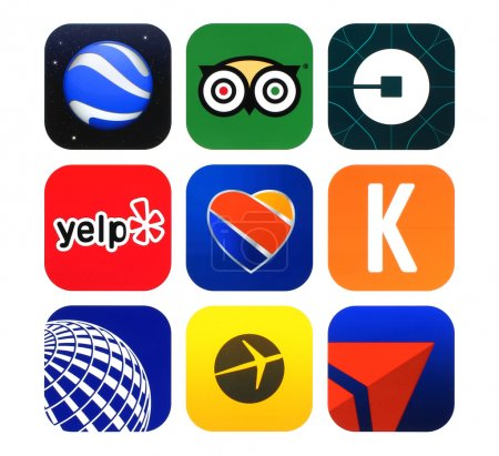 Collection of popular travel icons