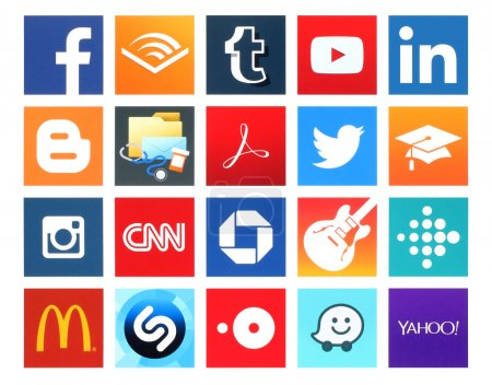 Collection of popular 20 square icons of social networking, books, business and others