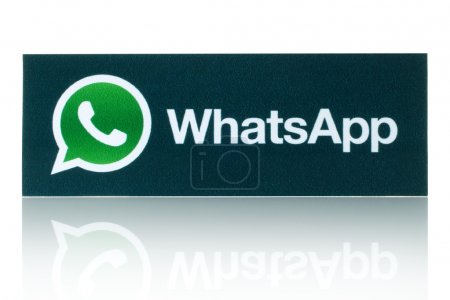WhatsApp Messenger logotype printed on paper