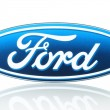 Постер, плакат: Ford logo printed on paper and placed on white background