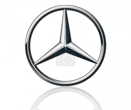 Mercedes Benz logo printed on paper and placed on white background