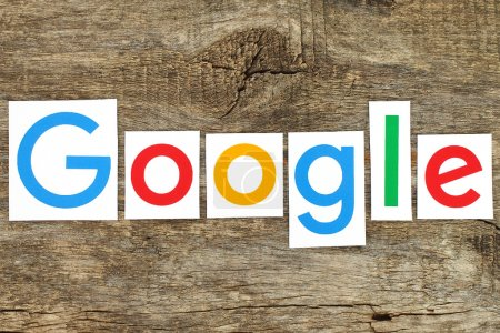 New Google logotype on old wood