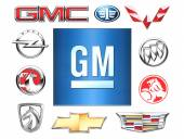 Brands of General Motors Company printed on paper. General Motors Company is an American multinational corporation that designs, manufactures and distributes vehicles