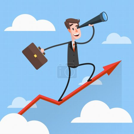 Illustration for Businessman flies over growing chart Cartoon character. Illustration in the style of the material design - Royalty Free Image