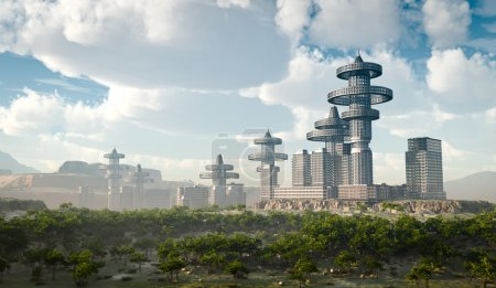 Aerial view of Futuristic City concept background