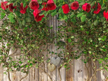 Roses and a hearts on wooden board, Valentines Day background, wedding day holiday background