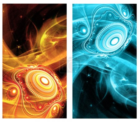 Two Abstract Fractal vertical backgrounds with cosmic light spheres planet