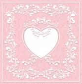 Vintage frame with heart on seamless pattern for Valentines Day or for Wedding or for romantic style design