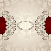 Vintage background with seamless pattern in pearly beige and red