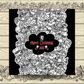 Christmas vertical doodle seamless border on white with beige wood
