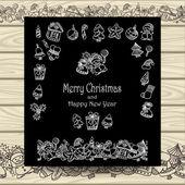 Set Christmas doodle elements   on  black with beige wood