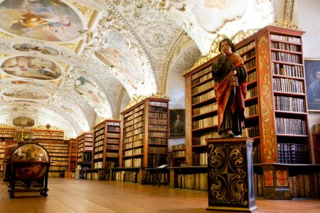 Plurality of stacks of books in ancient library