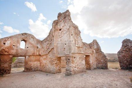 Brick walls of crumbling buildings