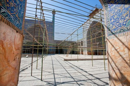 Time of repair works in historical courtyard of Imam Mosque