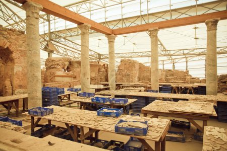 Shards of ancient mosaics and fragments of frescoes in archaeological complex of Ephesus