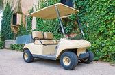 Zaparkovaných golfový vozík nedaleko domu